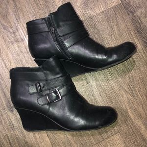 Black zip/buckle ankle booties